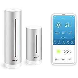 Netatmo Station Météo Intérieur Extérieur Connectée Wifi, Capteur Sans fil, Thermomètre, Hygromètre, Baromètre, Sonomètre, Qualité de l'air - Compatible Amazon Alexa et Apple Homekit, NWS01-EC