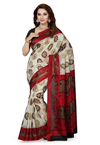ISHIN Bhagalpuri Silk Beige & Red Printed Women's Saree  available at amazon for Rs.499