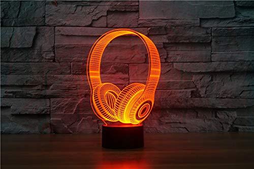 Mxlyr 3D Nachtlicht Kindergeburtstag Beste Geschenke Dj Kopfhörer Hape Led Tischlampe Schlafzimmer Dekor Musik Bunte Kopfhörer Leep Beleuchtung