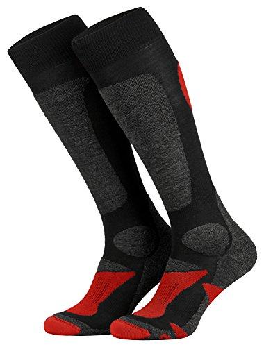 Piarini 2 Paar Unisex Skisocken Skistrumpf Herren, Damen und Kinder für Wintersport, Snowboard atmungsaktive Knie-Strümpfe Farbe Schwarz-Rot Gr.35-38 (Socken Winter Kinder)