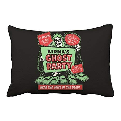 Zcfhike Custom Vintage Popular Happy Halloween Spook Show Poster Art Ghost Party 20x30 Inch Rectangle Throw Pillow Covers with Hidden Zipper Home Sofa Cushion Decorative Pillowcases
