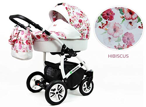 Kinderwagen Tropical, 3in1 -Set Wanne Buggy Babyschale Autositz Pastel Flamingos