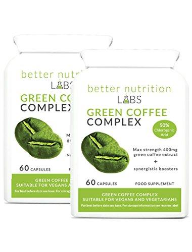 Green Coffee Complex (Grüner Kaffee) 2 Monatspackung - 400mg Grünem Kaffee Extrakt und 50% Chlorogensäure (GCA), kombiniert mit synergetischen Zutaten in einer bequemen Kapsel - Better Nutrition Labs