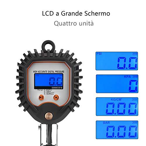 Manometro-digitale-per-pneumatici-con-connettore-a-tubo-e-spina-ieGeek-Misuratore-preciso-per-pressione-pneumatici-di-motocicli-Motociclette-morsetto-ad-aria-tutto-in-uno-flessibile-in-gomma-255-PSI