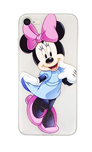 Onix Store Transparent Disney Case für iPhone, Zeichentrickfiguren Weiche TPU Protective Back Cover, Minnie Mouse Character (iPhone 7 Plus und 8 Plus) -