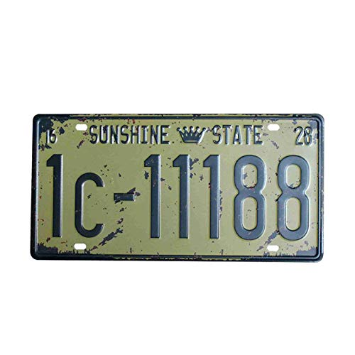 PotteLove Sunshine State Car Number License Plate Retro Metal Signs Tin Plaque Wall Art Poster for Cafe Bar Pub Beer Patio Garage Home Decoration Wall Painting Plate -