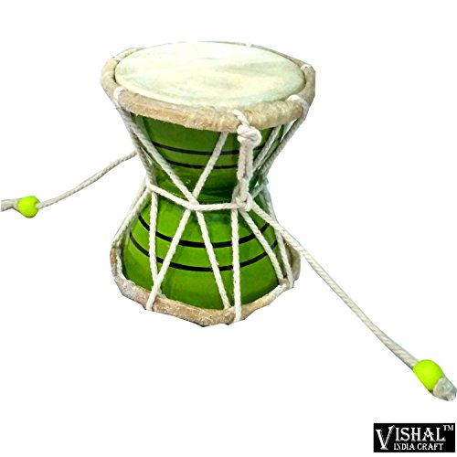 VISHAL INDIA MART HANDMADE SMALL SIZE WOODEN DAMROO FOR HOME OFFICE TEMPLE, GREEN COLOR DAMRU - GIFT ITEM  available at amazon for Rs.254