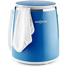 oneConcept Ecowash-Pico • mini lavatrice • campeggio • con funzione centrifuga • carico3,5 kg • 380 watt • risparmio energetico e acqua • timer • riavvolgimento cavo • maniglia trasporto • blu