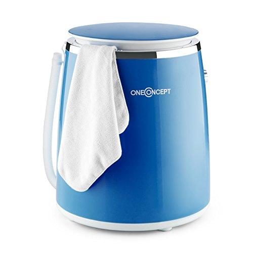 oneConcept Ecowash-Pico • Waschmaschine • Mini-Waschmaschine • Camping-Waschmaschine • Toploader • mit Schleuder-Funktion • für 3,5 kg Wäsche • 380 Watt • energie-und wassersparend • Timer • einfache Bedienung • Kabelaufwicklung • Tragegriff • blau (Kompakt Waschmaschine Trockner)