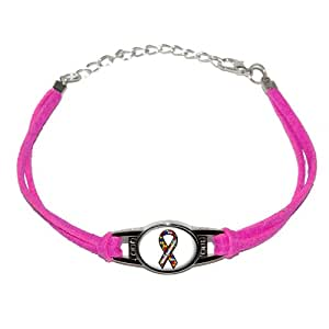 Autism Awareness Ribbon White - Novelty Suede Leather Metal Bracelet - Pink