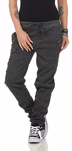 11065 Fashion4Young Damen Haremshose Hose Jogg-Pants Baggy Boyfriend Sweat-Material (3XL=46, Schwarz)