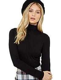 Fabricorn Black Long Sleeve Turtle Neck Cotton Tshirt for Women (Black)