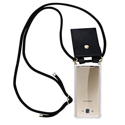 Cadorabo Handy Kette für Samsung Galaxy J7 2015 in SCHWARZ - Umhänge Handy Hülle aus transparentem Silikon mit Kordel Schnur und abnehmbarem Etui - Schutzhülle Case Back Cover -