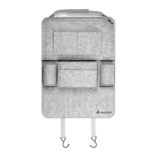 Salcar Autorücksitzorganizer Autositz Schutzfolie Tasche Auto Organizer Utensilientasche mit iPod, Notebook, iPhone,Getränke, mit 8 Filztaschen, 58x 42 cm, Grau