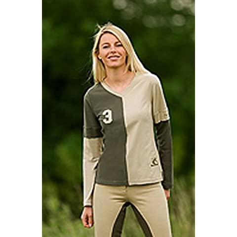 equi-theme Domino a maniche lunghe maglietta–Equestrian, Linen / cacao