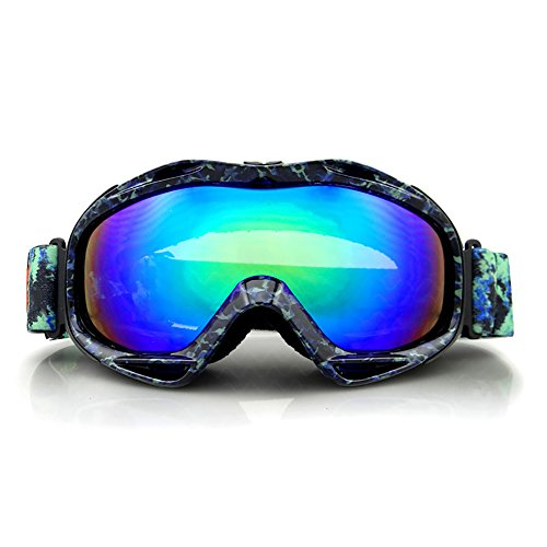 Kids Skibrille Helm Kompatibel Schneebrille für Jungen und Mädchen mit UV-Schutz (Color : Camo blue)