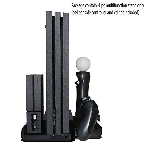 Tobo Multifunction Console Vertical Stand with Cooling Fan and Charging Dock PS VR Stand PS Move Charger for PS4 Fat PS4 Slim PS4 Pro