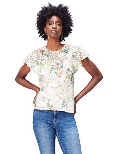 find. Top de Encaje Estampado para Mujer , Multicolor (Ivory Mix), 40 (Talla del Fabricante: Medium)