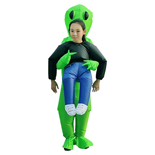 Alecony Aufblasbare Kleidung, grüner Alien trägt menschliches Kostüm, Halloween-Party, aufblasbar, lustige Aufblas-Anzug, Cosplay für Partykleidung, Geister, Erwachsene, zum Wandern Kid (Aliens Kostüm Für Erwachsene)