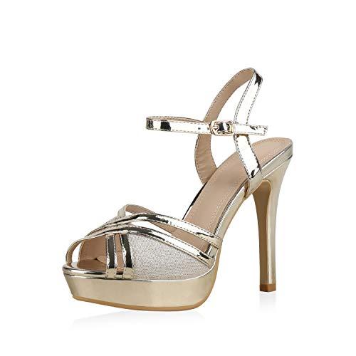 SCARPE VITA Damen Plateau Sandaletten Stiletto High Heels Party Schuhe Metallic Absatzschuhe Glitzer Lack Abendschuhe 183242 Gold 37