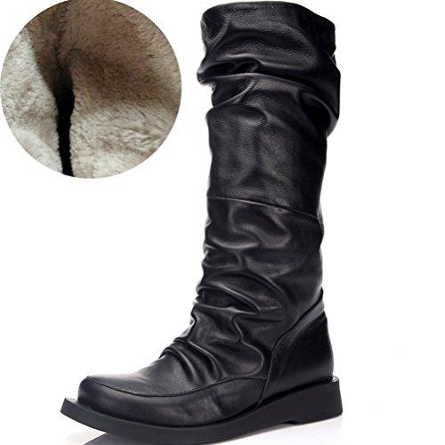 MatchLife Femme Décontractée Classique Longue Cuir Bottes Style2-Noir-Toison