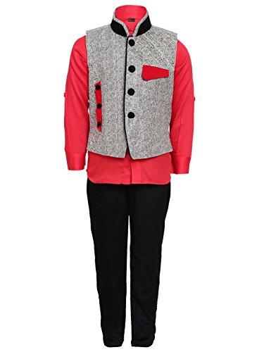 AJ Dezines kids party wear waistcoat suit set for boys (607_RED_7)
