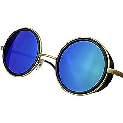 Retro Sonnenbrille wie Vintage Gletscherbrille Lennon Steampunk sunglasses rund VLD55 (Gold / Grün verspiegelt)