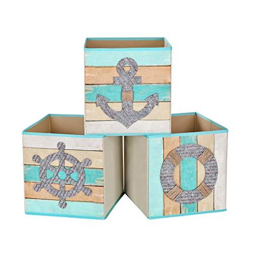 SONGMICS Juego de 3 Cajas de Almacenamiento, Cajas de Juguetes, Cubos Plegables,...
