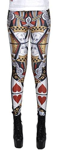 erdbeerloft - Damen Mädchen Leggins Leggings Herzkönigin Kartenspiel Print, One Size S-M-L, (Tanz Muster Kostüm Moderne)