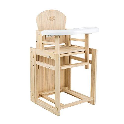 LIZHI Hölzerner Baby-Hochstuhl, Abnehmbarer Kinder-Toddle-Dinning-Stuhl-Multifunktionstisch -