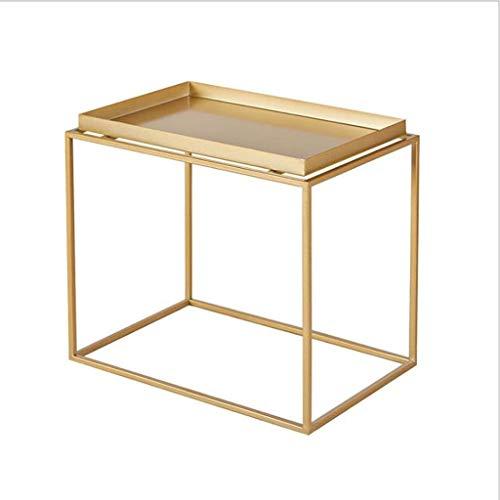 Dsrgwe Beistelltisch, Modernes Wohnzimmer Schlafzimmer Sofa Beistelltisch Schmiedeeisen Couchtisch mit Lagerregal (Color : Gold, Size : 35CM) - Buche Kirschbaum-schrank