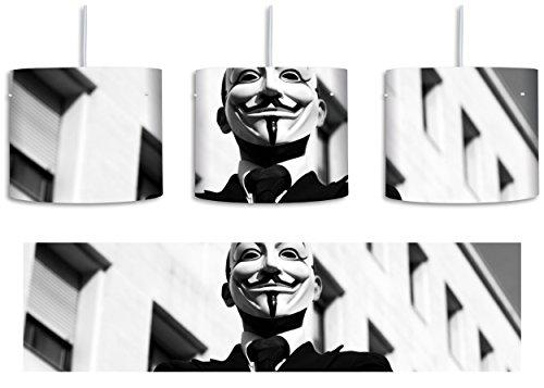 Maske Anonymus schwarz/weiß inkl. Lampenfassung E27, Lampe mit Motivdruck, tolle Deckenlampe, Hängelampe, Pendelleuchte - Durchmesser 30cm - Dekoration mit Licht ideal für Wohnzimmer, Kinderzimmer, (Man Invisible Maske)
