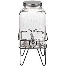 Dispensador de bebidas de cristal, tarro vintage, con tapa de metal, aprox.