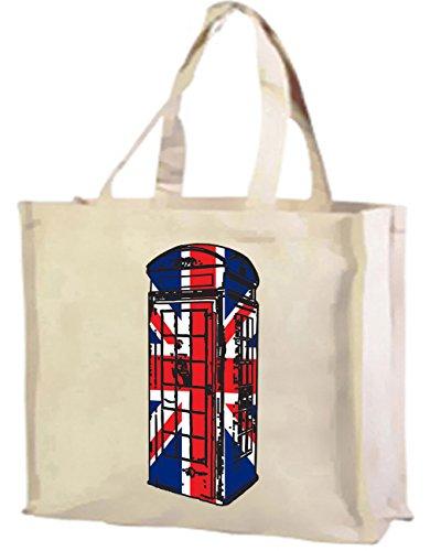 Best of British, cabina telefonica Union Jack-Borsa per la spesa, in cotone (crema)