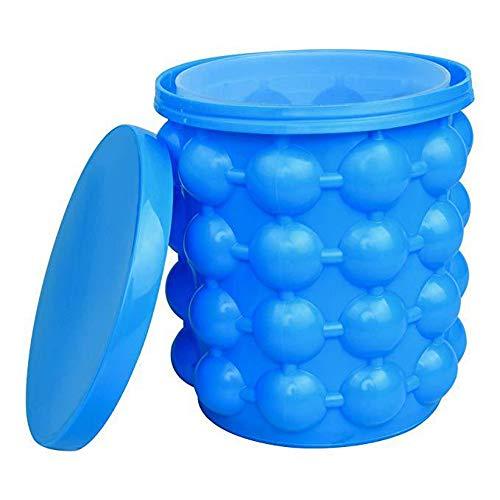 Silikon Eiseimer,Ice Cube Maker Doppel-Wall-Eismacher Mit Deckel Platzsparende Genie Eiswürfelbereiter Perfekt Für Picknicks Outdoor-Blau (13.2 * 14.1CM)