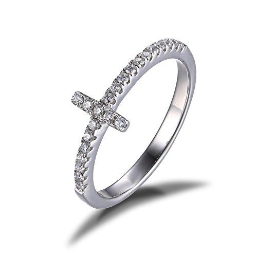 JewelryPalace Donna Gioiello Zirconi Croce Anello di Promessa Argento Sterling 925 Traversa Obliqua - Smeraldo Trasparente Anello