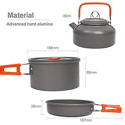 Jetcloud Camping Cookware Kit Outdoor Aluminum Cooking Set for 2 to 3 People Non Stick Folding Camping Pans and Pots Travelling Camping Hiking Picnic BBQ Orange 4