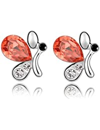 Silver Shoppee Stunning Butterfly Rhodium Plated K Crystal, Cubic Zirconia Alloy Stud Earring for Girls and Women