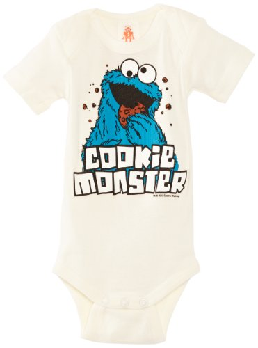 Logoshirt Baby - Jungen Spieler Babybody Sesame Street- Cookie Monster, Ecru (Almost White), 80 ()