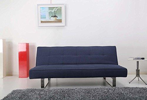 Schlafsofa Blau Modern (Schlafsofa 3 Sitzer – Modernes Design klares – System einfach und praktisch Schlafcouch–1 Person schlafen – Antibes blau)