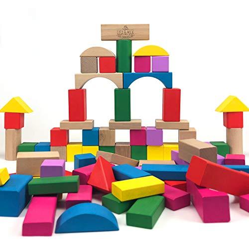 Geprüfte Premium Qualität - 100 modern farbige Bauklötze in verschiedenen Größen und Formen - Bunte Holzbausteine für Kinder, Kleinkinder, Babys ab 0 Jahren - Holzspielzeug ()