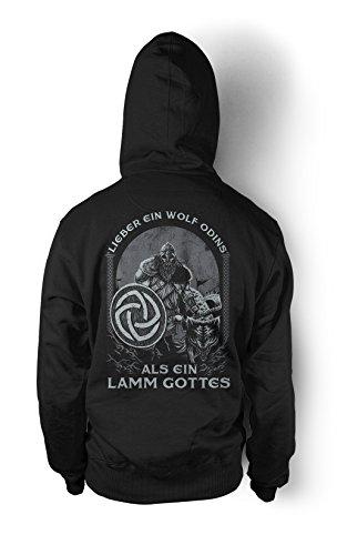 s als ein Lamm Gottes Männer und Herren Kapuzenpullover | Odin Wikinger Walhalla Geschenk | M1 FB (Schwarz, L) ()