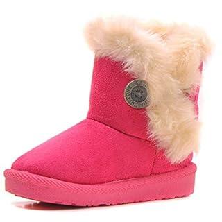 Eagsouni Maedchen Warme Watte Gepolsterten Schuhe Kleinkindschuhe Fell Boots Knopf warm gefuettert Baby Schlupfstiefel Schneestiefel, Rosa/Pink Gr. 25
