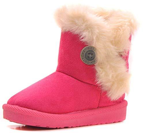 Eagsouni Maedchen Warme Watte Gepolsterten Schuhe Kleinkindschuhe Fell Boots Knopf warm gefuettert Baby Schlupfstiefel Schneestiefel, Rosa /Pink Gr. 35