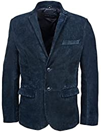 New stylsih Millano 2 button CLASSIC BLAZER Men Navy suede Leather Jackets