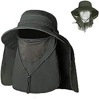 Unigear Sombrero para el Sol Gorro Pescador Anti-UV UPF50+ Gorra Pesca Solar ala Ancha Transpirable Multiusos con Velo y Mosquitera Protección Cuello Al Aire Libre (Verde)
