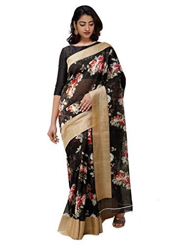 Unnati Silks Women Soft Linen Saree with blouse piece from the Weavers of Chattisgarh (UNM30640+Black+Free size)