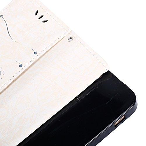 Etsue Cuir Coque Pour iPhone 5/5S,iPhone SE,Cuir Housse Portefeuille Coque Avec Cordon pour iPhone 5/5S,iPhone SE,Fashion Retro Conception Coque Étui Support Protecteur Case Magnétique Pochette avec S forme de cœur Blanc