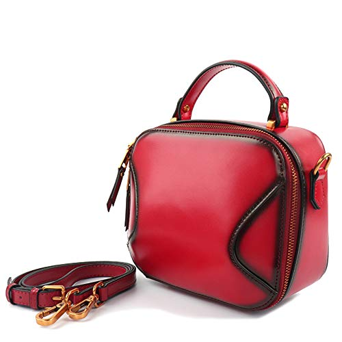 Womens Messenger Bags Öl Wachs Echtes Leder Schulter Handtasche Kleine Quadratische Kreuz-Körper Taschen Vintage Top Griff Tasche,Red-21 * 10 * 17cm