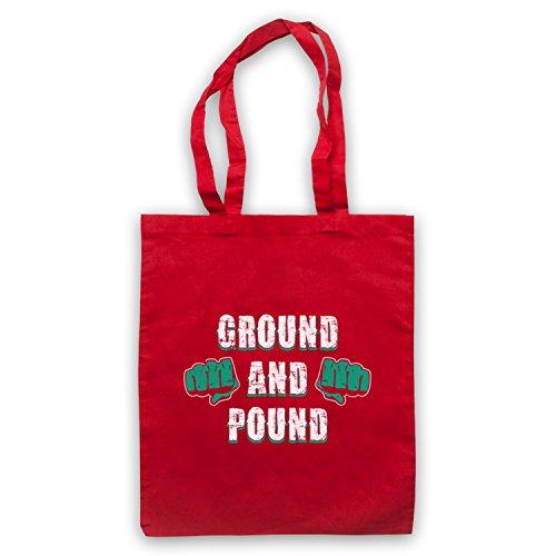 Ground And Pound MMA Fighting Slogan Umhangetaschen Rot